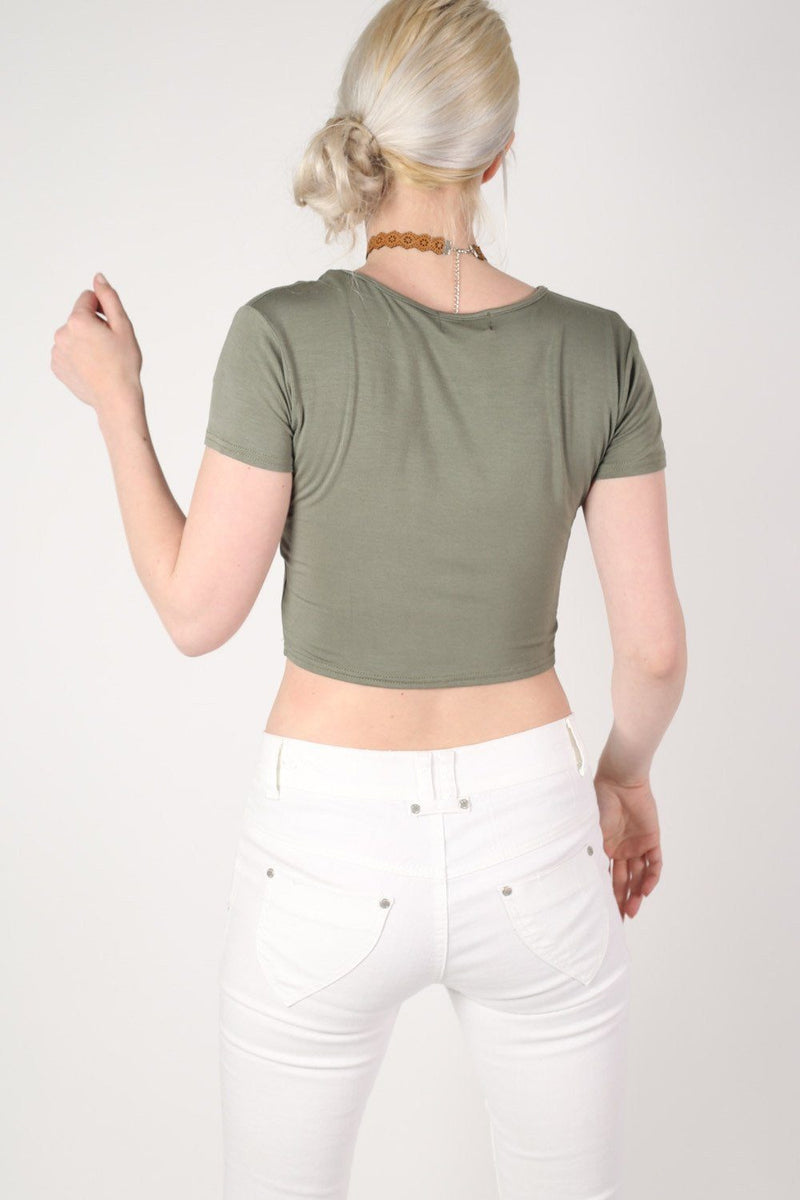 Plain Cap Sleeve Crop Top in Khaki Green 4