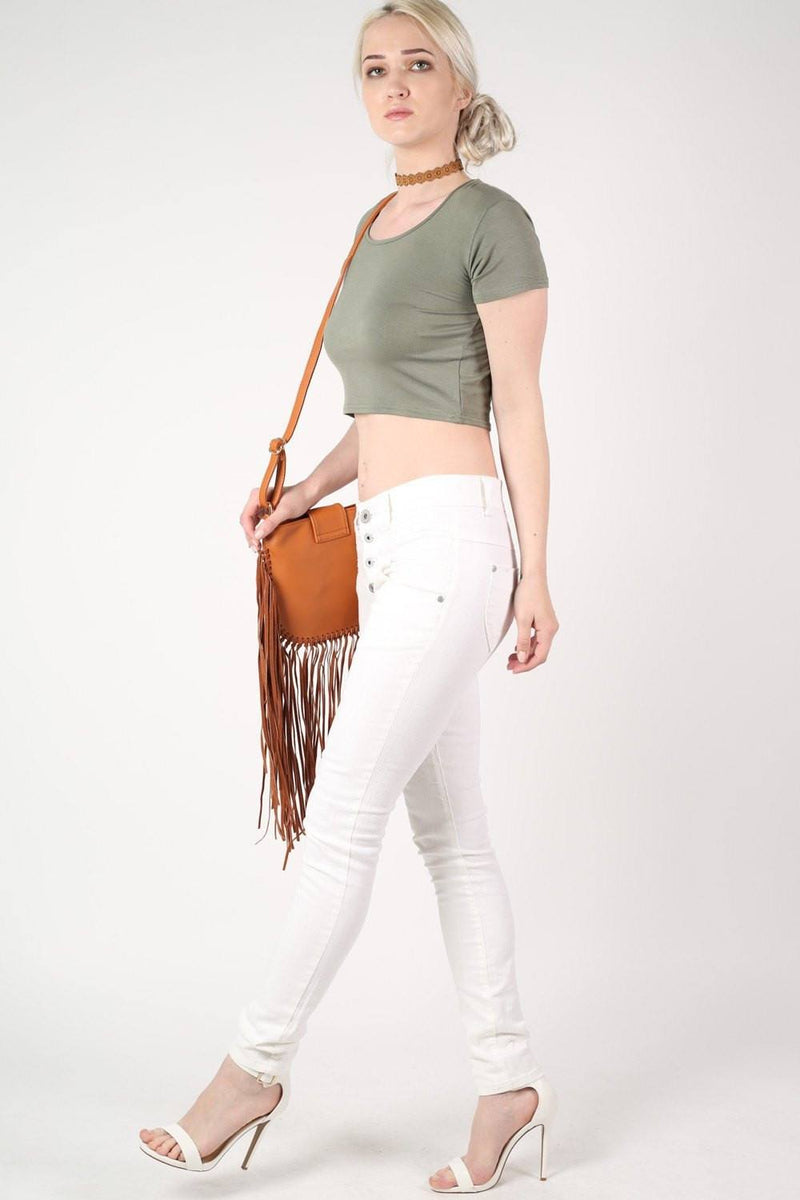 Plain Cap Sleeve Crop Top in Khaki Green 5
