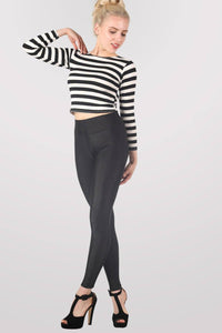 High Waist Shiny Leggings in Black 0