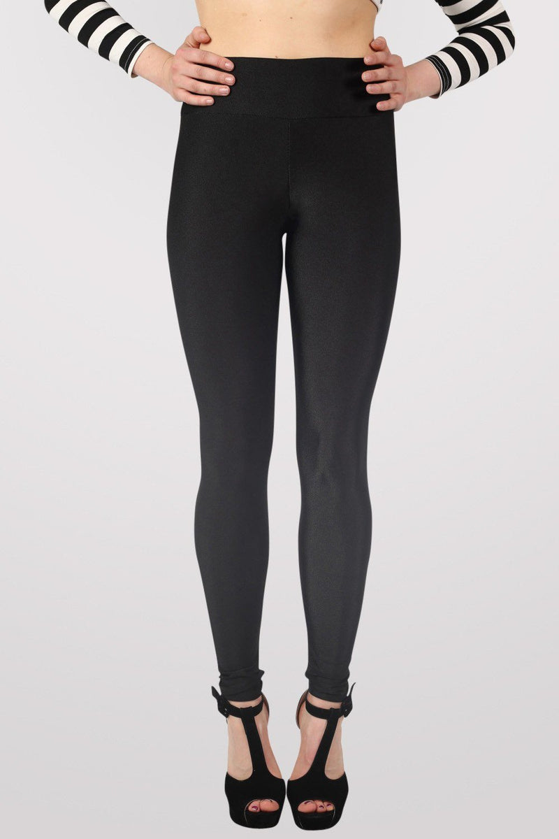 High Waist Shiny Leggings in Black 1