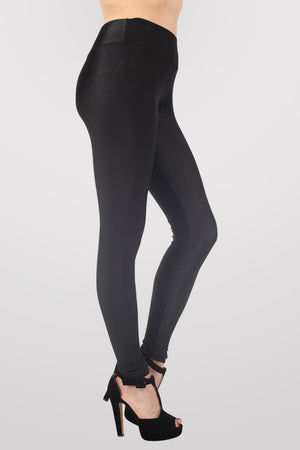High Waist Shiny Leggings in Black 2