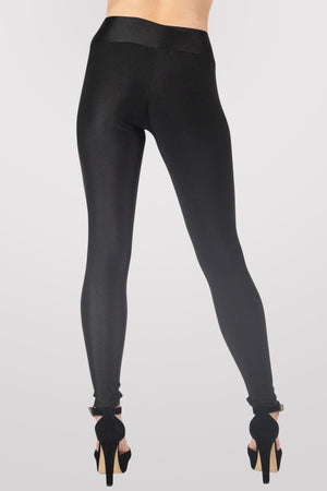 High Waist Shiny Leggings in Black 3