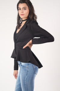 Peplum Blazer Jacket in Black 0