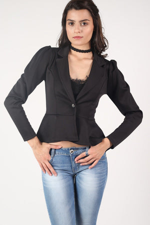 Peplum Blazer Jacket in Black 3