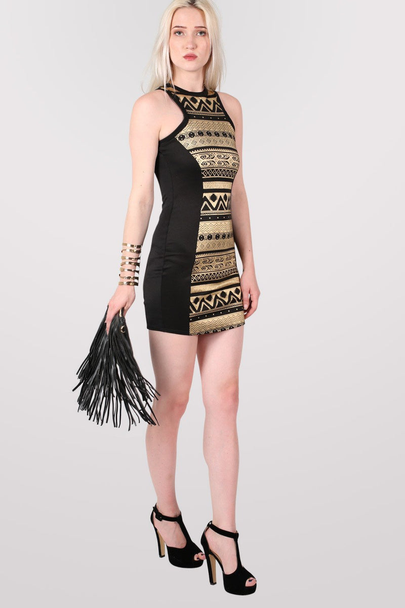 Gold Aztec Print Bodycon Party Dress in Black 1