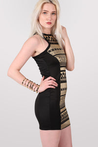 Gold Aztec Print Bodycon Party Dress in Black 3