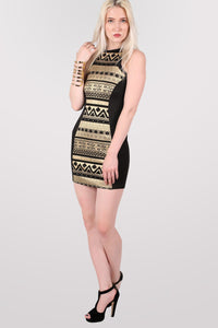 Gold Aztec Print Bodycon Party Dress in Black 5