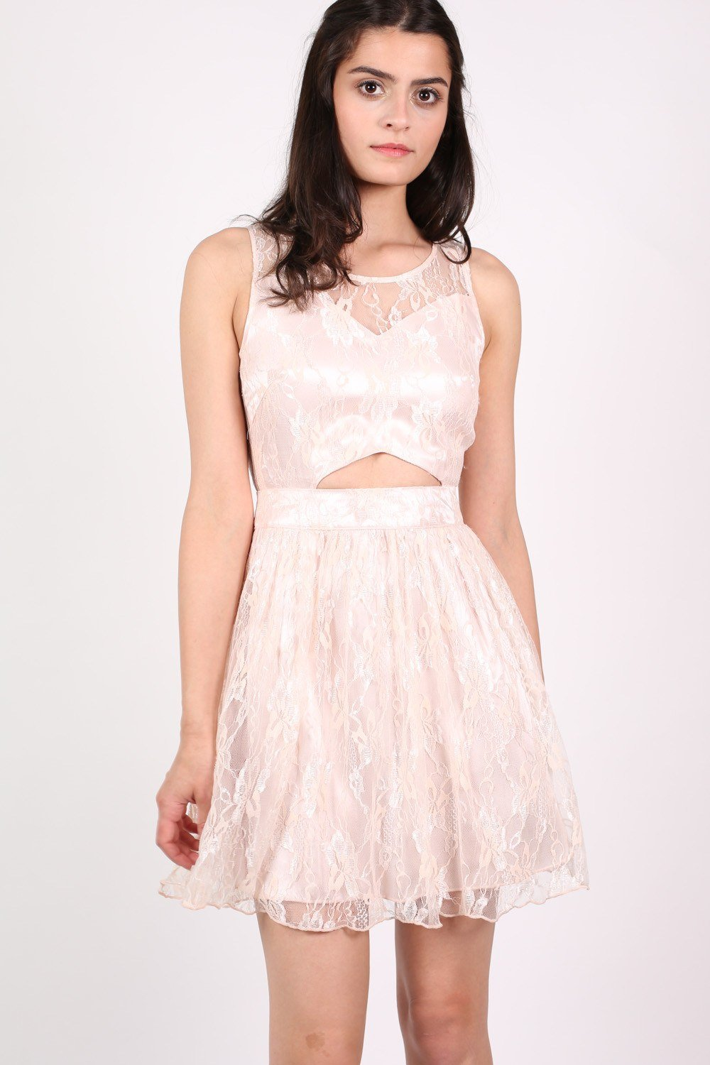 Lace Cut Out Front Skater Dress in Pink 0