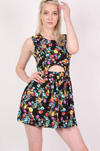 Cut Out Front Floral Dress in Multi Colour 1