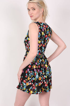Cut Out Front Floral Dress in Multi Colour 3