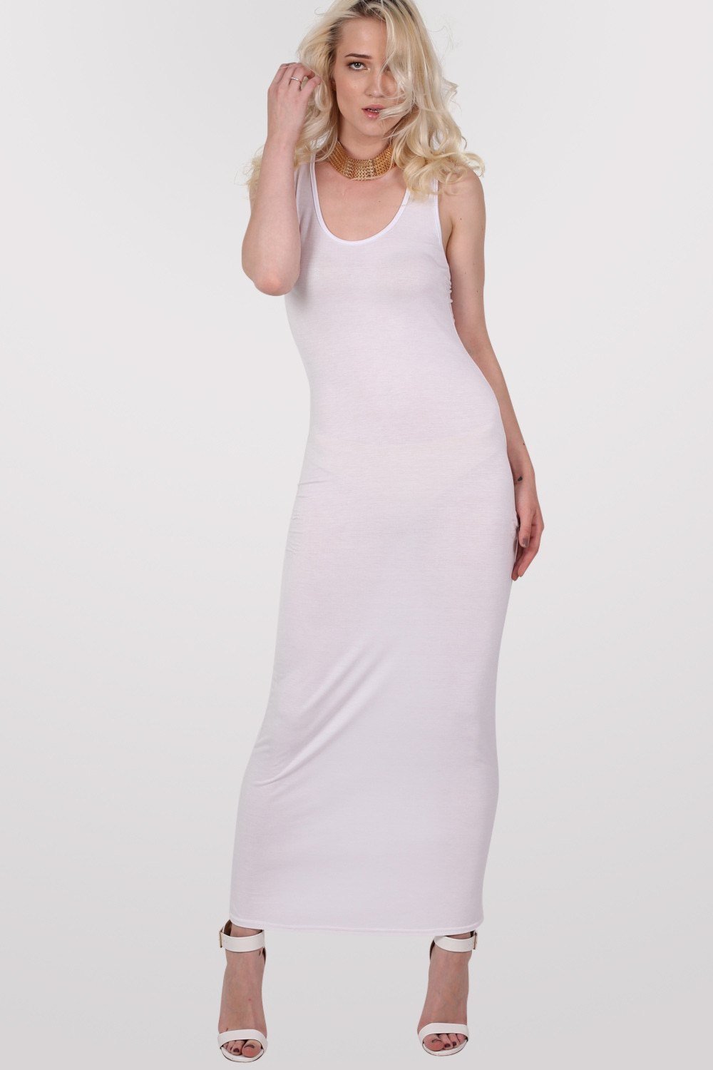 Scoop Neck Sleeveless Maxi Dress in White 0