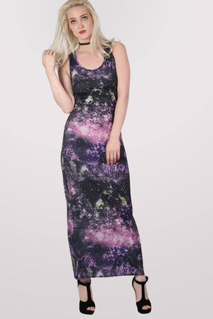 Galaxy Print Scoop Neck Maxi Dress in Multi Colour MODEL FRONT