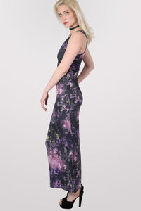 Galaxy Print Scoop Neck Maxi Dress in Multi Colour MODEL SIDE