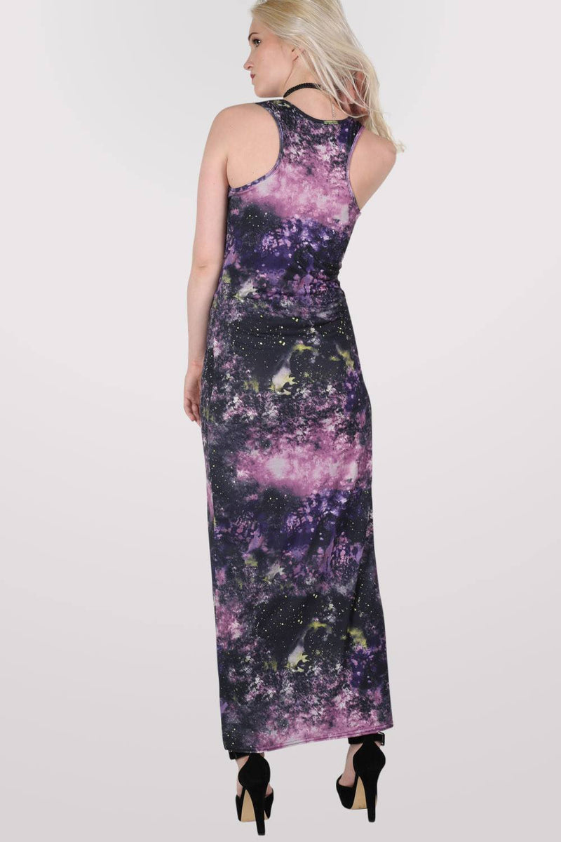Galaxy Print Scoop Neck Maxi Dress in Multi Colour MODEL BACK