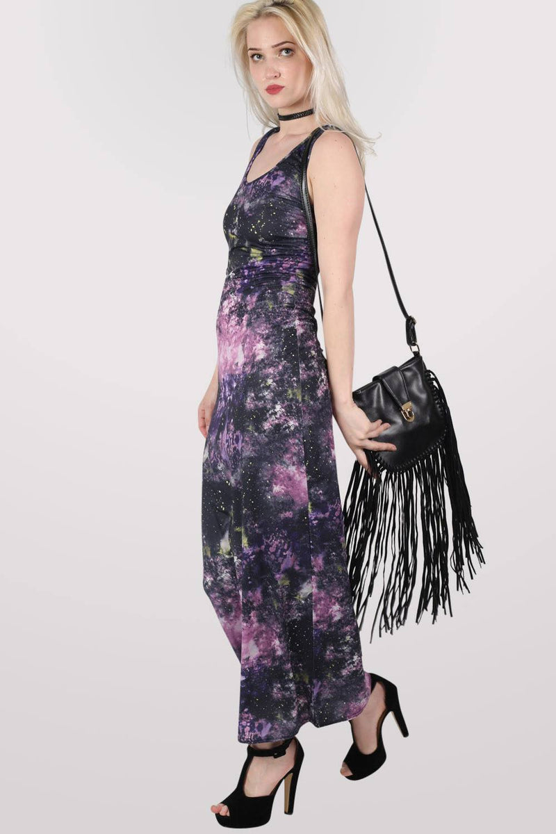 Galaxy Print Scoop Neck Maxi Dress in Multi Colour MODEL SIDE 2