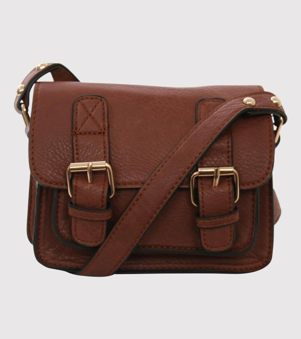 Mini Leather Look Satchel Bag in Brown FRONT