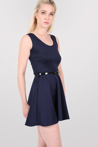 Sleeveless Belted Skater Dress in Navy Blue 0