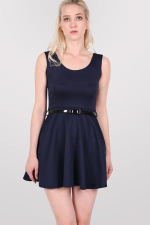 Sleeveless Belted Skater Dress in Navy Blue 1