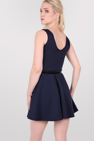 Sleeveless Belted Skater Dress in Navy Blue 3