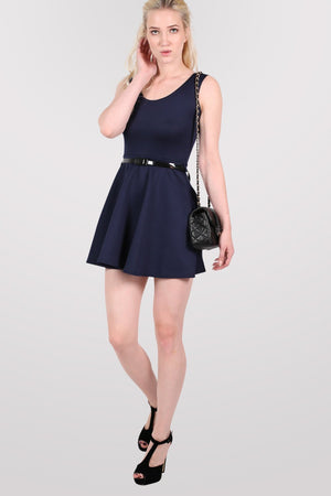 Sleeveless Belted Skater Dress in Navy Blue 4