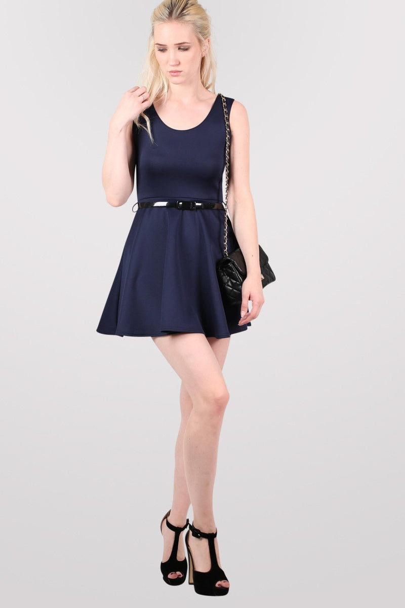 Sleeveless Belted Skater Dress in Navy Blue 5