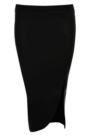 Leather Look Front Split Pencil Skirt in Black 2