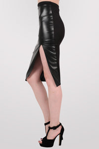 Leather Look Front Split Pencil Skirt in Black 3