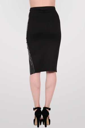 Leather Look Front Split Pencil Skirt in Black 4