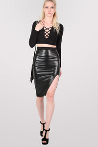 Leather Look Front Split Pencil Skirt in Black 5