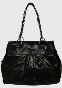 Shiny 2 Chain Handle And Ring Detail Handbag in Black BACK