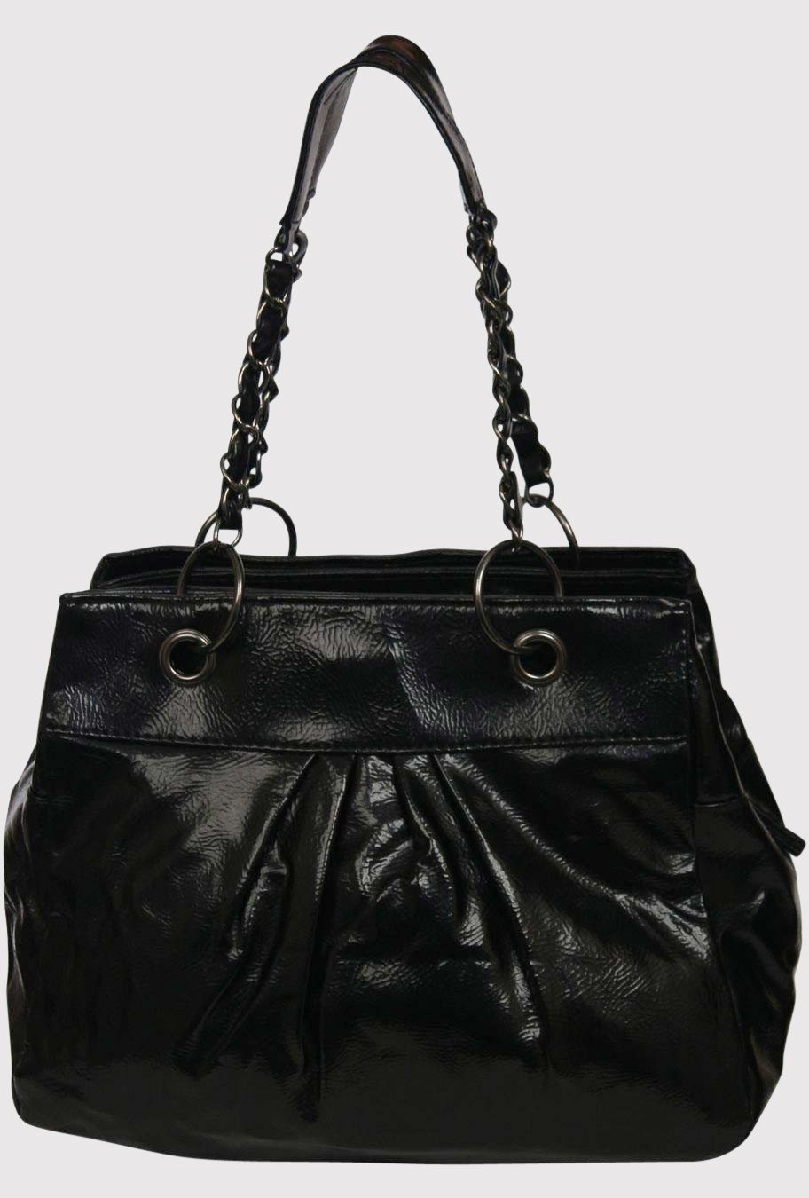 Shiny 2 Chain Handle And Ring Detail Handbag in Black FRONT