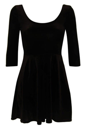 3/4 Sleeve Velvet Skater Dress in Black 2