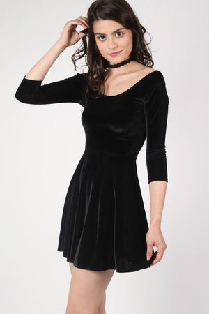 3/4 Sleeve Velvet Skater Dress in Black 0