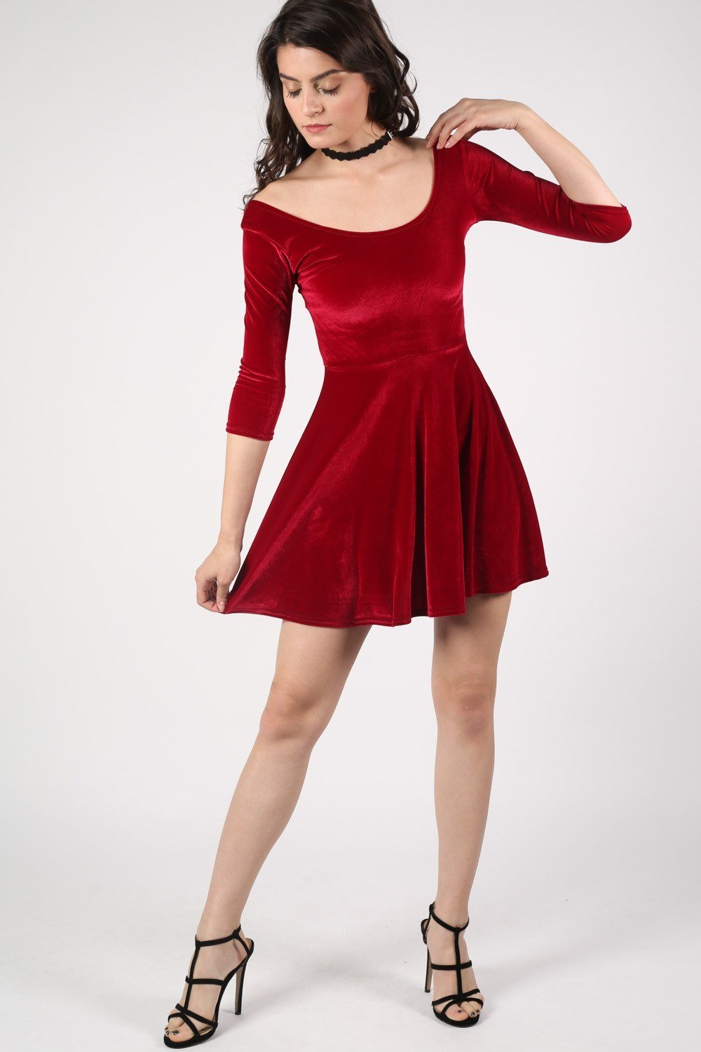 3/4 Sleeve Velvet Skater Dress in Wine Red 0