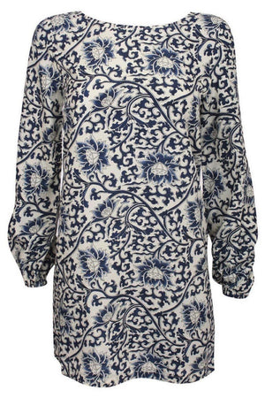 Oriental Flower Print Tunic Dress in Navy Blue 2