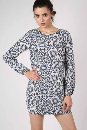 Oriental Flower Print Tunic Dress in Navy Blue 0