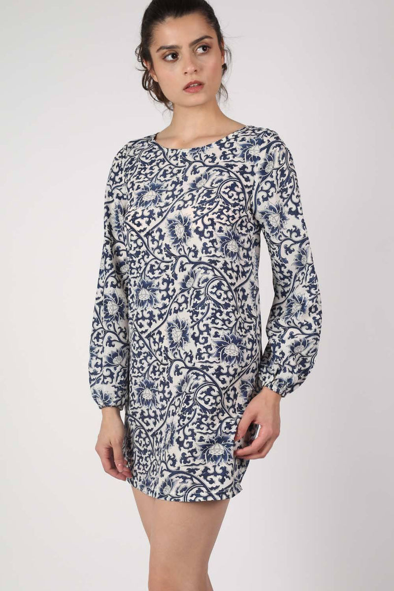 Oriental Flower Print Tunic Dress in Navy Blue 1
