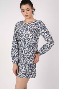 Oriental Flower Print Tunic Dress in Navy Blue 3
