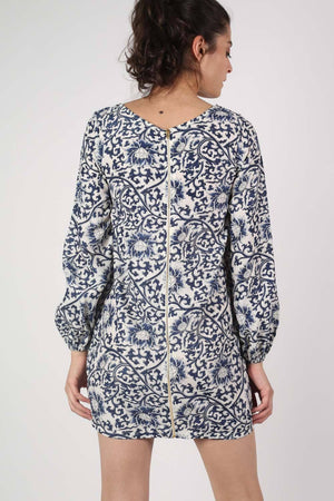 Oriental Flower Print Tunic Dress in Navy Blue 4