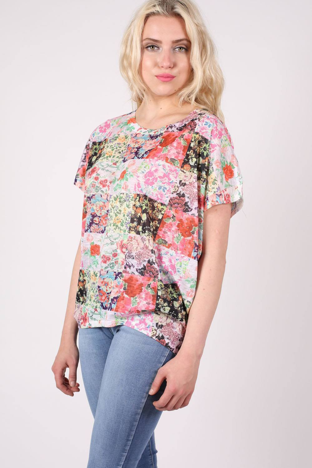 Floral Patchwork Print Diamante Detail Oversized Top in Pink 0