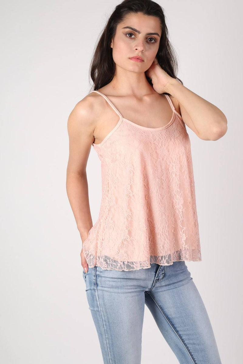 Lace Swing Camisole Top in Nude 0