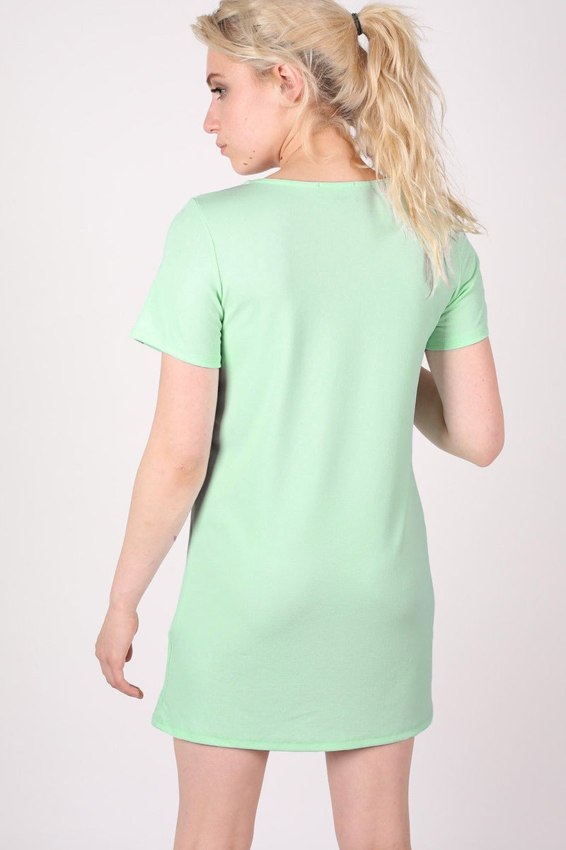 Cap Sleeve Plain Shift Dress in Mint Green 1