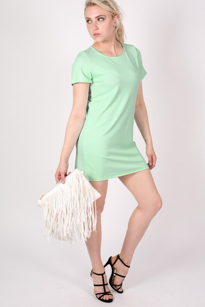Cap Sleeve Plain Shift Dress in Mint Green 3