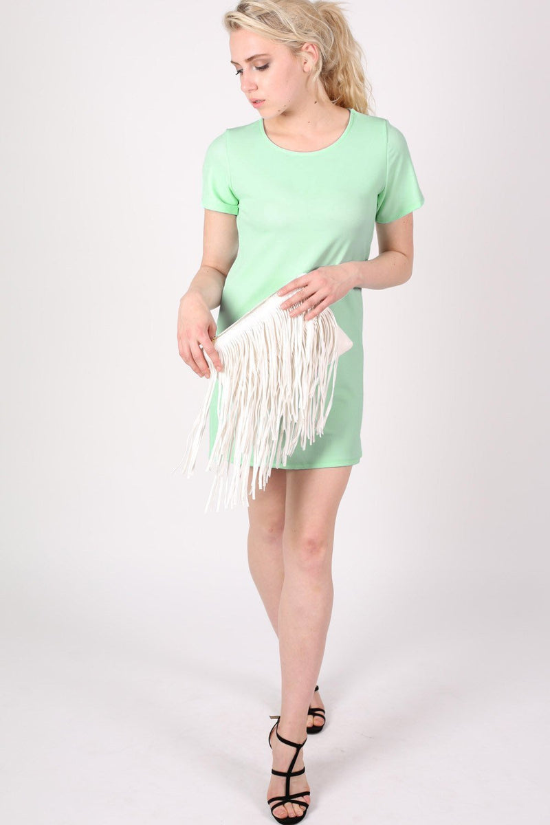 Cap Sleeve Plain Shift Dress in Mint Green 4