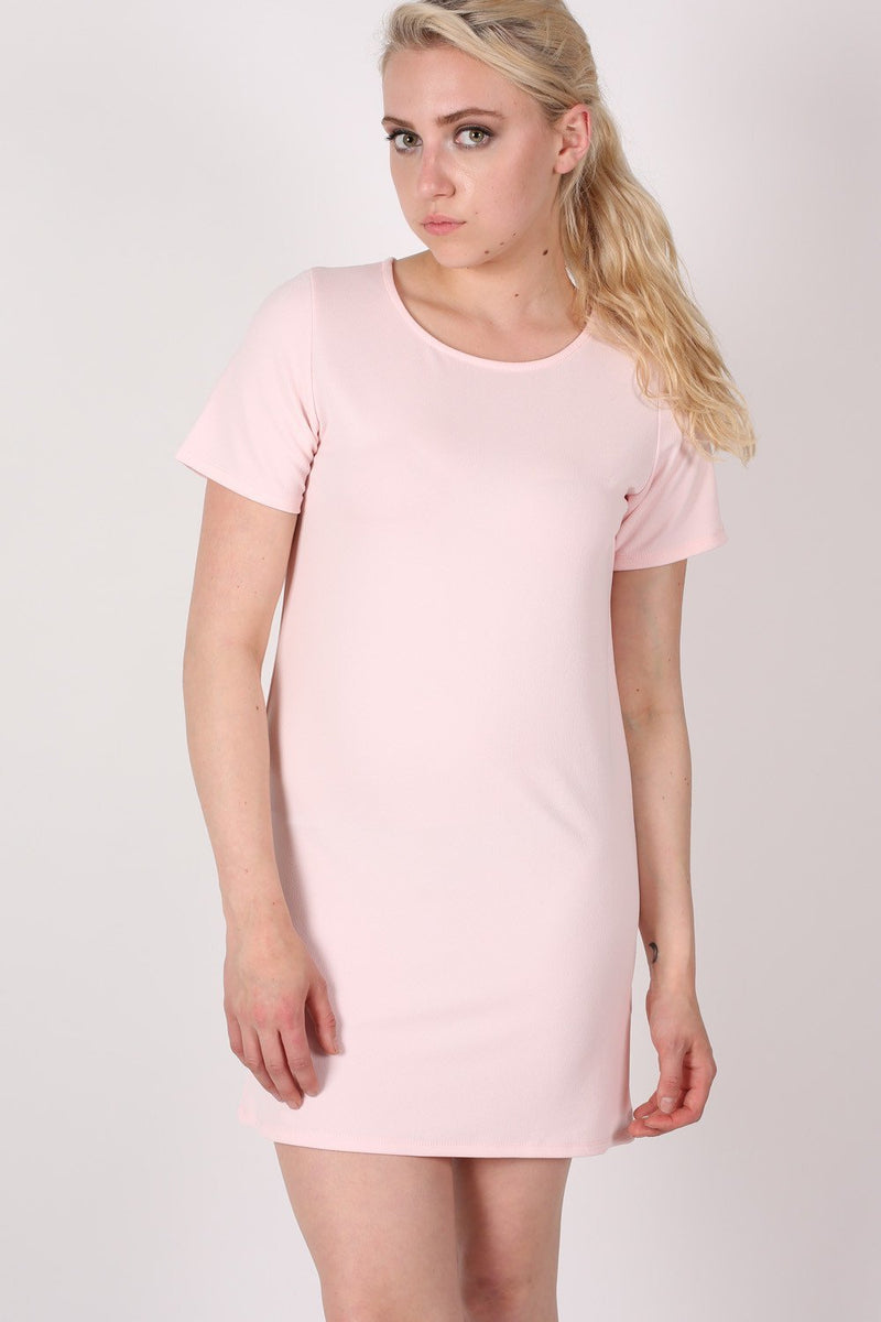 Cap Sleeve Plain Shift Dress in Pale Pink MODEL FRONT