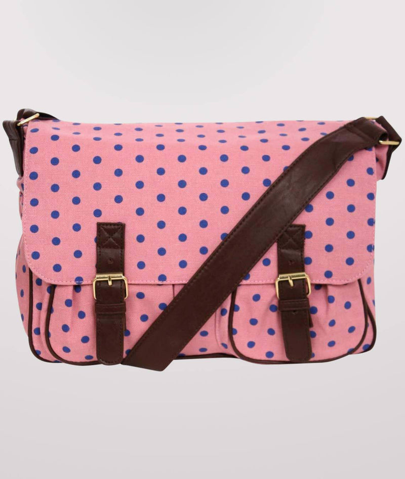 Spotty Satchel in Pink FRONT