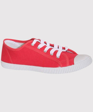 Lace Up Canvas Trainers in Coral 2