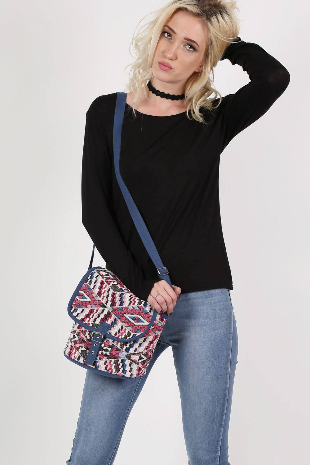Tribal Cross Body Messenger Bag in Pink 0