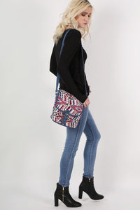 Tribal Cross Body Messenger Bag in Pink 3