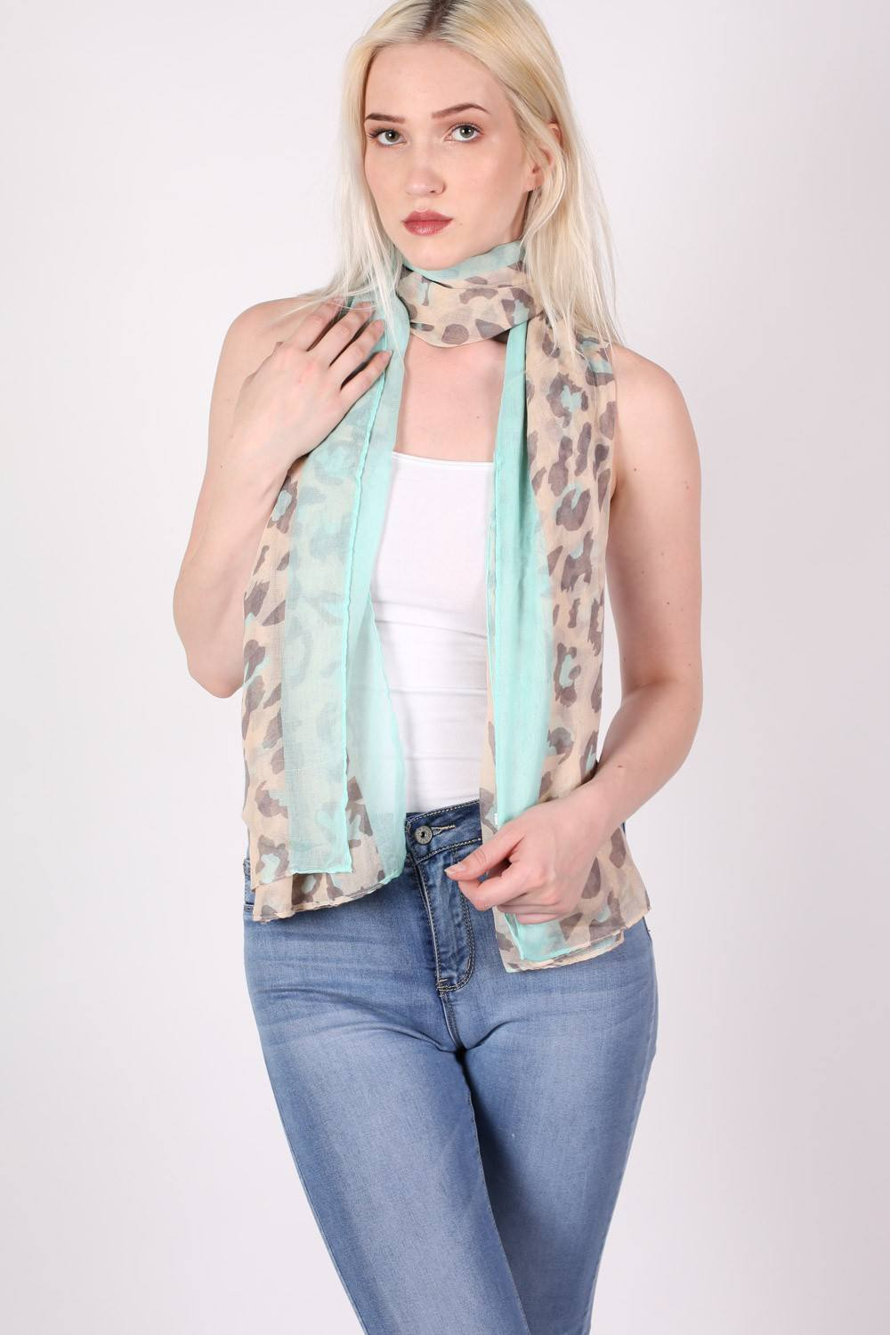 Plain Border Leopard Print Scarf in Mint Green MODEL FRONT